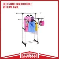 Stand Hanger Double Sisi Satu Rak Dengan 4 Roda Asli Portable Murah