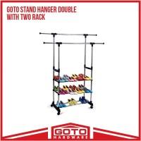 Stand Hanger Double Sisi Dua Rak Dengan 4 Roda Asli Portable Murah