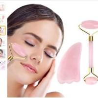 Rose Quartz Face Jade Facial Roller and Gua Sha Slimming Face Massage