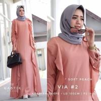 Baju Terusan Muslim Maxi Casual Wanita Cocok Untuk Arisan Pink