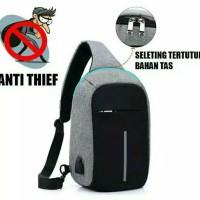 Sling Bag Pria Anti Maling Selempang USB Tas Anti Maling USB Pria