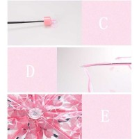 Payung Lipat Jepang Motif Transparan Cherry Blossom - E023 - Pink