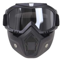 Kacamata Google Retro Masker Motor-Hitam/Abu