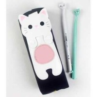 Tempat Dosgrip Kotak Pensil Pulpen Pen Case Cute Kawai Cat Kucing