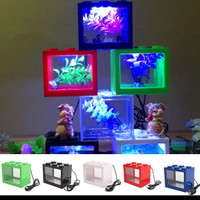 Harga aquarium mini kecil susun lampu led ikan hias cupang colokan   antitipu.com