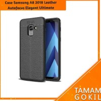 Case Samsung Galaxy A8 2018 Leather Autofocus Experience - Hitam