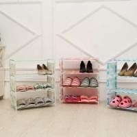 Rak Sepatu Portable 4 Susun Sandal Tempat Buku Book Rack Interior Home