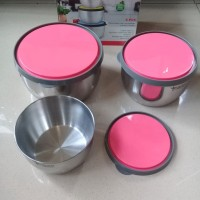 Food Container Stainless Steel 3 Set With Plastic Lid Golden STLBS01