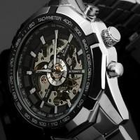 Jam Tangan Pria Mekanik Otomatis Winner Skeleton - Hitam Silver
