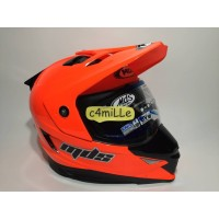 HELM MDS SUPER PRO SOLID RED FLUO DOUBLE VISOR FULL CROSS TRAIL