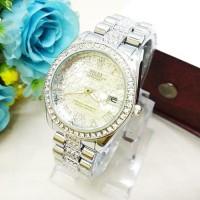 Jam Tangan Wanita / Cewe Rolex Madu Hitam silver