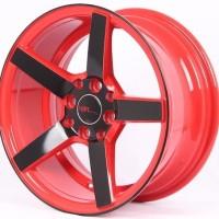 Velg Mobil Ring 15 HSR NE3 Hole 4 Pcd 4x100 4x114,3 Warna Merah Hitam