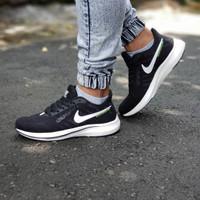 Sepatu Nike Zoom Pegasus / Pria Hitam Putih Casual Running Gym Fitness