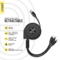 UNEED 3 in 1 Retractable Kabel Micro Lightning Type C - UCB31