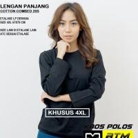 Kaos Polos Cotton Combed 20s Lengan Panjang Big Size 4XL /XXXXL -Warna