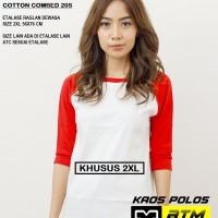 Kaos Polos Cotton Combed 20s Raglan Dewasa Size 2XL