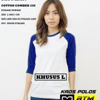 Kaos Polos Cotton Combed 20s Raglan Dewasa Size L