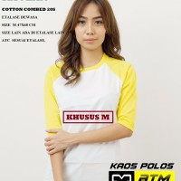 Kaos Polos Cotton Combed 20s Raglan Dewasa Size M