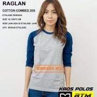 Kaos Polos Cotton Combed 20s Raglan Dewasa Size XL