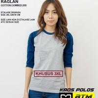 Kaos Polos Cotton Combed 20s Raglan Big Size 3XL
