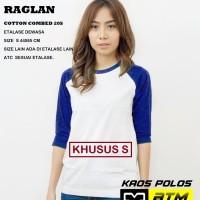 Kaos Polos Cotton Combed 20s Raglan Dewasa Size S