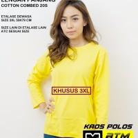Kaos Polos Cotton Combed 20s Lengan Panjang Big Size 3XL /XXXL - Warna