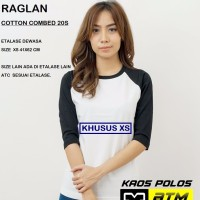 Kaos Polos Cotton Combed 20s Raglan Dewasa Size XS