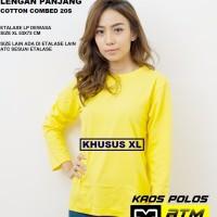 Kaos Polos Cotton Combed 20s Lengan Panjang Dewasa Size XL - Warna