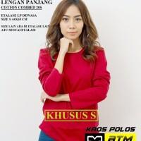 Kaos Polos Cotton Combed 20s Lengan Panjang Dewasa Size S - Warna