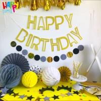 BANNER ULANGTAHUN BANNER HAPPY BIRTHDAY FRAME BOLONG GOLD SILVER MURAH