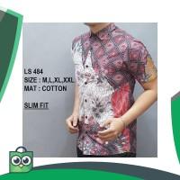 Harga baju kemeja batik slim fit pria lengan pendek casual formal | Pembandingharga.com