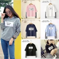 MichelleStore Sweater Wanita Crop Hoodie Morning Selfie Mix Salur