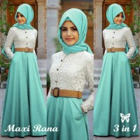 AGEN BAHAN HALUS! RANA MURAH DRESS MUSLIM GAMIS LONG DRESS BRUKAT