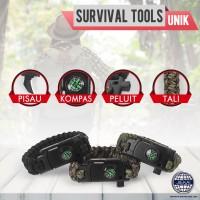 Gelang Camping Serbaguna Bracelet Compass Whistle Multi functional