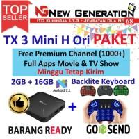 Paket Android Tv Box TANIX TX3 mini H + Mini Keyboard i8 backlite