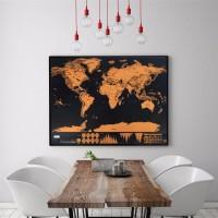 Stiker dinding kamar rumah Poster World Map Traveling Sign Peta Dunia