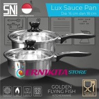 SAUCE PAN STAINLESS 18CM - HAIRLINE - TUTUP KACA - FOOD GRADE MATERIAL