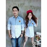 kemeja couple biru putih lengan panjang rovy - baju pasangan