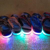 Sandal anak LED lampu nyala cowok laki jepit karet tayo