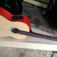 gitar akustik elektrik new jreng bonus kabel jack
