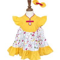 Mosfit Rubby Girl Yellow Cheongsam Baju Dress Anak Perempuan