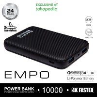EMPO 10000mAh Power Bank Quick Charge 3.0 + Power Delivery (HITAM)