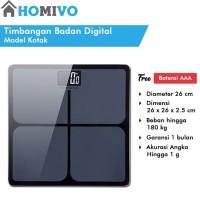 StarHome Timbangan Badan Digital Kaca Kotak 26 cm Digital Weight Scale