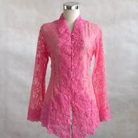 Kebaya Brokat Pink Panjang Bordir 814