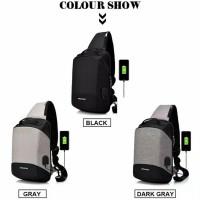 Sling Bag Pria Tas Smart Tas Anti Maling USB Ready Stock
