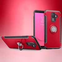 Samsung Galaxy J8 2018 Carbon iRing Hard Soft Case Cover Casing Stand