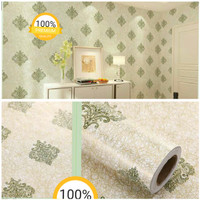 Harga wallpaper stiker dinding motif batik hijau | antitipu.com