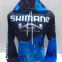kaos jersey mancing-baju mancing bertopi shimano hagane biru 917