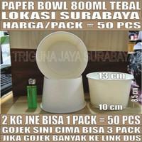 Paper Bowl Tebal 800ml Per Pack 50pcs Mangkuk Tahan Microwave Surabaya