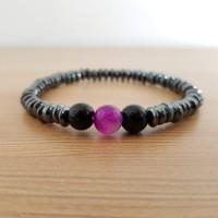 Gelang Metal 1 Batu Ungu - Metal Chain Bracelet Purple Stone